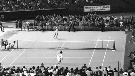 Billie Jean King durante la partita disputata il 20 settembre 1973 a Houston, Texas. Ap