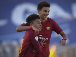 L'esultanza dei giallorossi dopo il 2-0. Fonte: Twitter Roma
