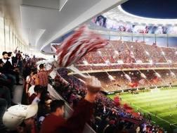 Un rendering del progetto dello stadio a Tor di Valle. Ansa