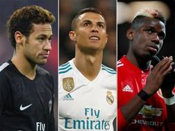 Neymar (Psg), Cristiano Ronaldo (Real Madrid) e Paul Pogba (Manchester United)