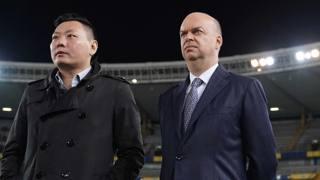 Il direttore esecutivo del Milan, David Han Li con l'a.d. Marco Fassone. LaPresse