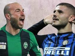 Emanuele Berrettoni, attaccante del Pordenone, e  Mauro Icardi, bomber dell'Inter.
