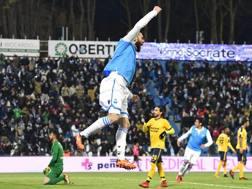 Mirco Antenucci (Spal) festeggia il gol su rigore del 2-2. LaPresse
