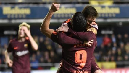 Messi e Suarez decisivi a Vila-Real. Afp