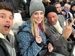 Fedez, Chiara Ferragni e Lapo Elkann all'Allianz Stadium per Juve-Inter. Foto Instagram