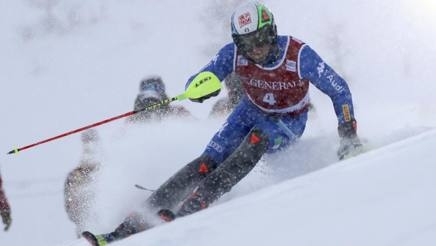 Stefano Gross in azione a Val d'Isere. Ap