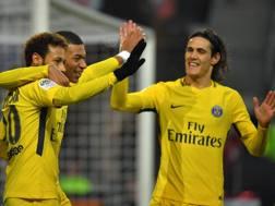 Neymar, Mbappé e Cavani: tutti in gol. Afp