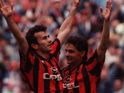 Dejan Savicevic e Roberto Baggio con la maglia del Milan