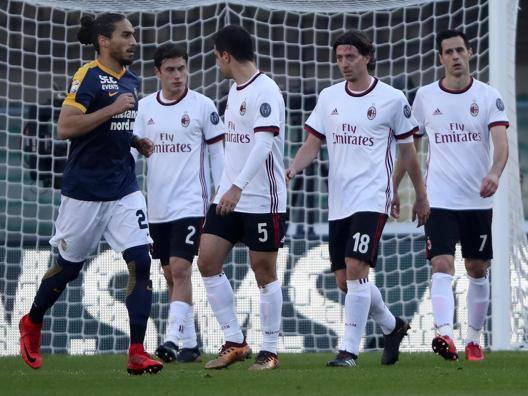 Il Milan a testa bassa: k.o. clamoroso al Bentegodi. Ansa