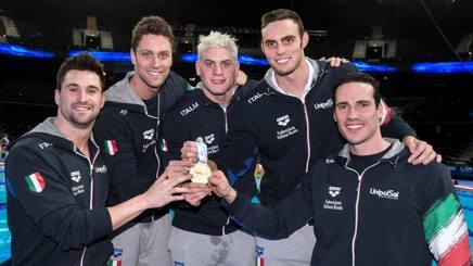 I cinque campioni europei azzurri a Copenaghen: Marco Orsi, Luca Dotto, Simone Sabbioni, Matteo Rivolta e Fabio Scozzoli STACCIOLI