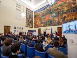 Il Giro d'Onore della Federciclismo nel Salone d'Onore del Coni a Roma. Foto Sestili