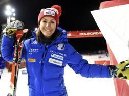 Irene Curtoni felice dopo il podio di Courchevel. Ap
