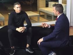 Cristiano Ronaldo (32), intervistato da Alessandro Del Piero (43). SKYSPORT
