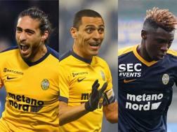 Caceres, 30 anni,alla Juve nel 2009-2010 e dal 2012 al 2016. Romulo, 30, alla Juve nel 2014-2015. Kean, 17, all'Hellas in prestito dalla Juve. Getty/LaPresse