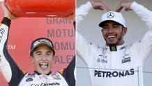Marc Marquez e Lewis Hamilton, iridati 2017 di MotoGP ed F.1. EPA/AP