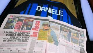 Tanto rosa e la maglia nerazzurra per l'addio a Daniele