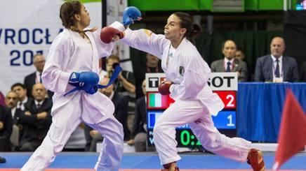 Sara Cardin (cintura rossa) in azione  durante la finale per il bronzo agli World Games in Polonia. Epa