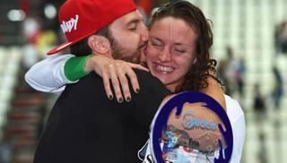 Katikna Hosszu e il marito Shane Tusuphoz ai Mondiali di Kazan 2015. Getty Images
