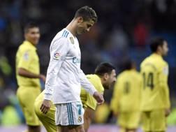 La delusione di Cristiano Ronaldo a fine gara. Afp
