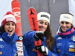 Federica Brignone, Sofia Goggia e Nadia Fanchini sul podio di Bad Kleinkirchheim. Epa