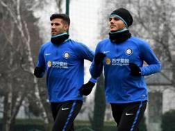 Lisandro Lopez, 28 anni, si allena con Mauro Icardi, 24. Getty
