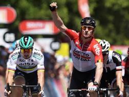 Andre Greipel all'arrivo della prima tappa del Tour Down Under.