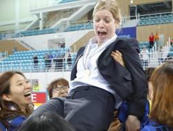 Sarah Murray, c.t. della Corea del Sud dell'hockey ghiaccio donne. Epa