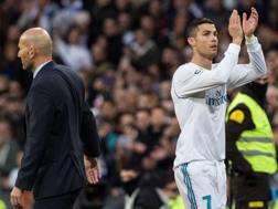 Zinedine Zidane, 45 anni, e Cristiano Ronaldo, 32. Epa
