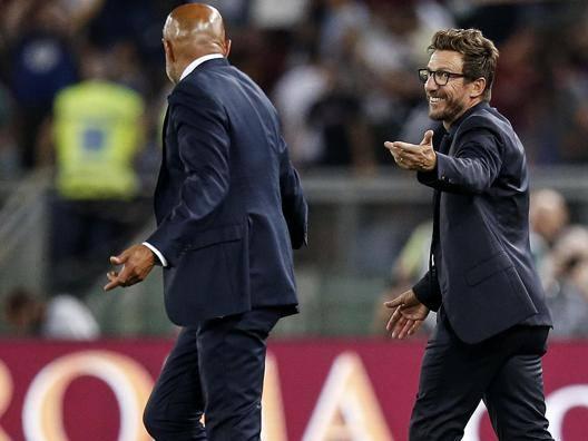 Luciano Spalletti (58) scherza con Eusebio Di Francesco (48). ANSA
