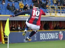 L'esultanza di Mattia Destro, al 5° gol stagionale. Ansa