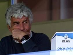 Gian Piero Gasperini, 59 anni, ha seguito la partita dalla tribuna perché squalificato. Lapresse