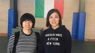 Haruka Tachimoto e Misato Nakamura, rispettivamente oro e bronzo a Rio 2016, in visita al Centro Olimpico Federale di Ostia