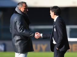 Il presidente del Verona Maurizio Setti con Fabio Pecchia.