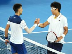 Hyeon Chung, 21 anni, ha superato Djokovic in 3 set. GETTY IMAGES