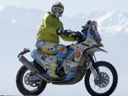 Jacopo Cerutti in azione alla Dakar. Ap