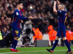 Coutinho, 25 anni, entra in campo per Iniesta. Getty Images