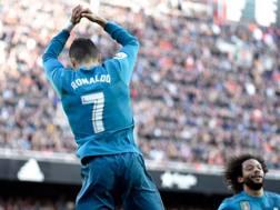 La classica esultanza di Ronaldo. Afp