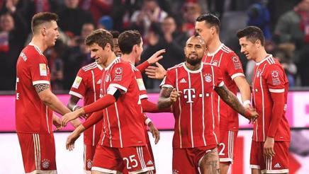 Esultanza Bayern all'Allianz Arena. Epa