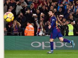 Leo Messi in gol al Camp Nou. Afp