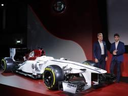 La presentazione dell'accordo Sauber-Alfa, qui con i piloti Ericsson e Leclerc. Ap