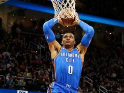 Russell Westbrook ha trascinato i Thunder a 8 vittorie di fila. Afp