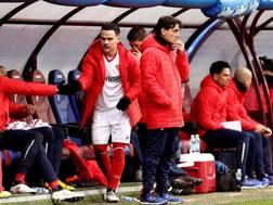 Vincenzo Montella durante il match con l'Eibar. Epa