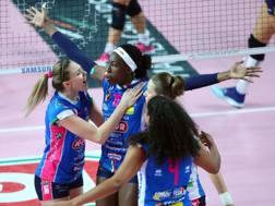 L'esultanza delle giocatrici di Novara RUBIN/LVF