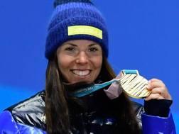 Charlotte Kalla, 30 anni, prima medaglia d'oro delle Olimpiadi di Pyeongchang. Afp