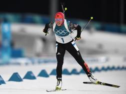 Laura Dahlmeier, padrona del biathlon a PyeongChang. Afp