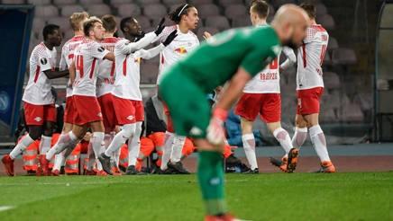 Il RB Lipsia esulta per il gol del vantaggio di Bruma