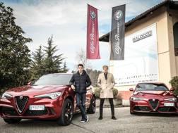 Charles Leclerc e Marcus Ericcson a Balocco con le Alfa Romeo Giulia e Stelvio