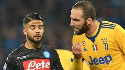 Lorenzo Insigne e Gonzalo Higuain, attaccanti di Napoli e Juventus. Getty