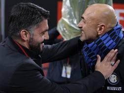 Rino Gattuso e Luciano Spalletti nel derby di Coppa Italia. Getty