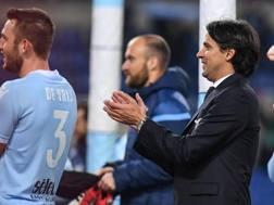 Simone Inzaghi, 41 anni, festeggia a fine gara la vittoria della Lazio sul Verona. Ansa